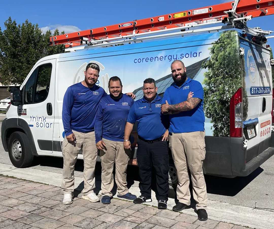 Group of Core Energy Solar Employees by work truck